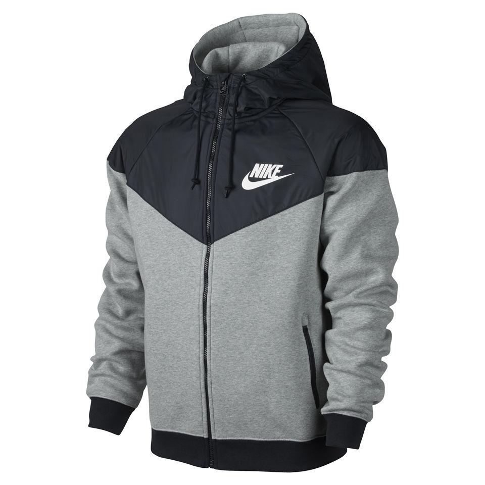 Nike jacket gray and black - Nike Men S Windrunner Fleece Mix Jacket Dark Grey Heather Sports Leisure Thehut Com