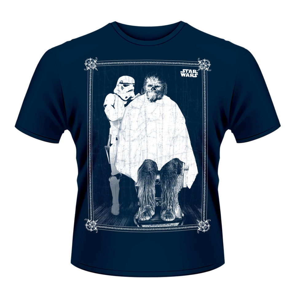 Star wars men 39 s t shirt chewie haircut iwoot for Mens shirt with stars