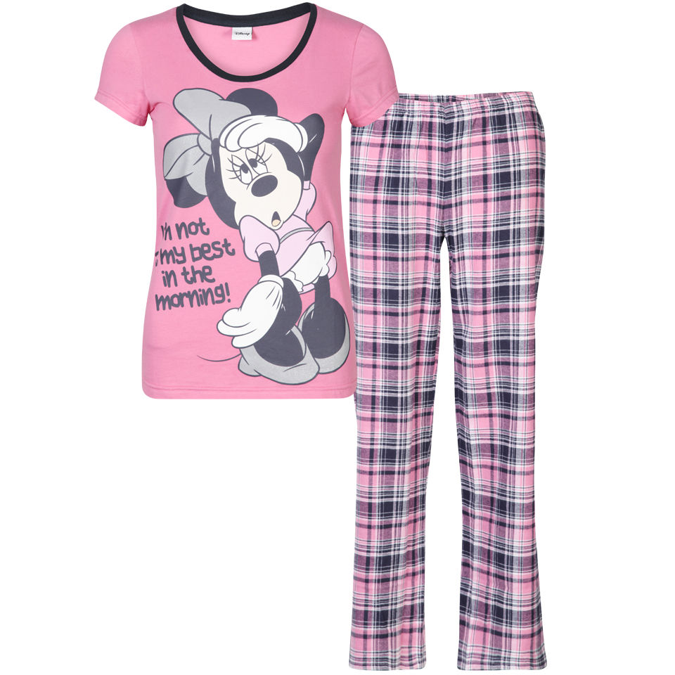 Minnie Mouse Women S Checked Pyjama Set Pink Clothing