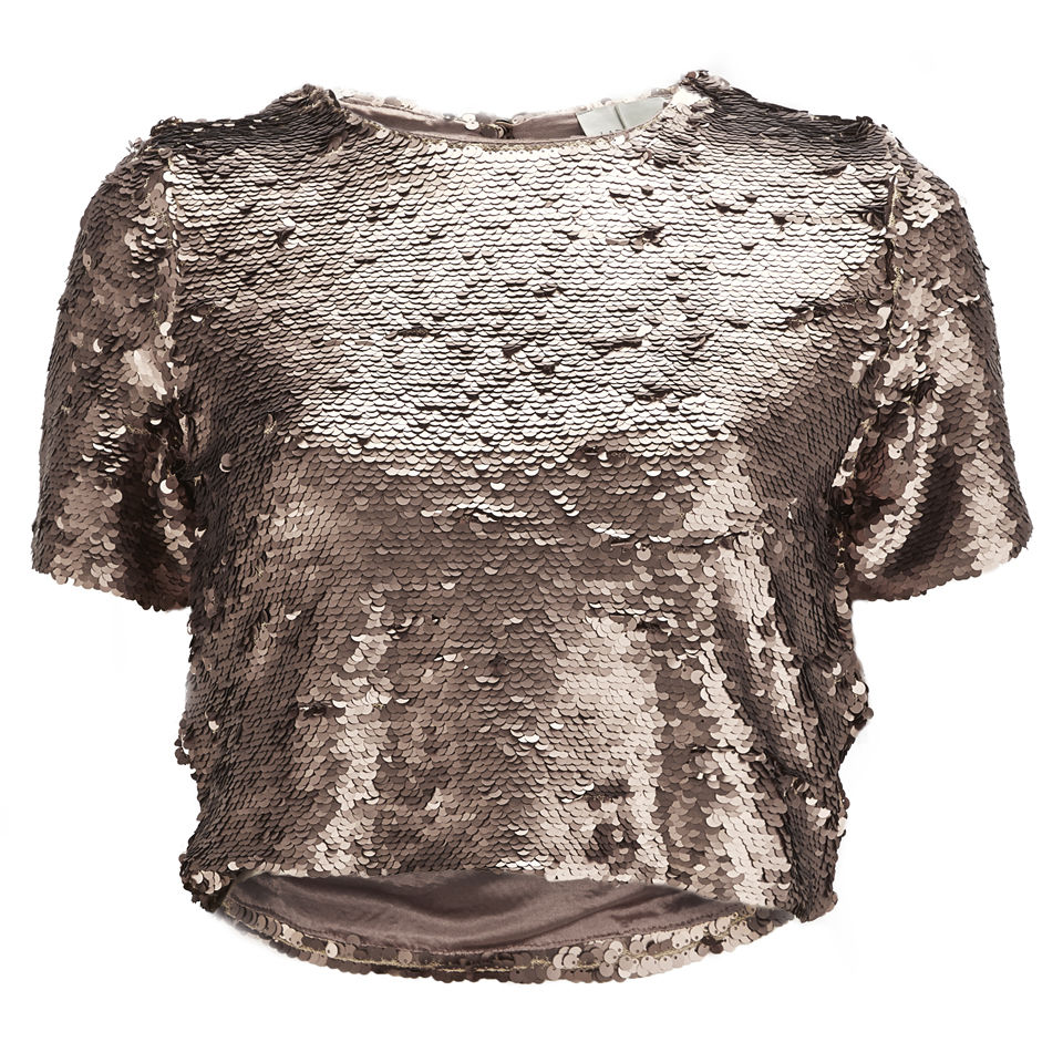 lavish alice womens rose gold sequin crop top gold