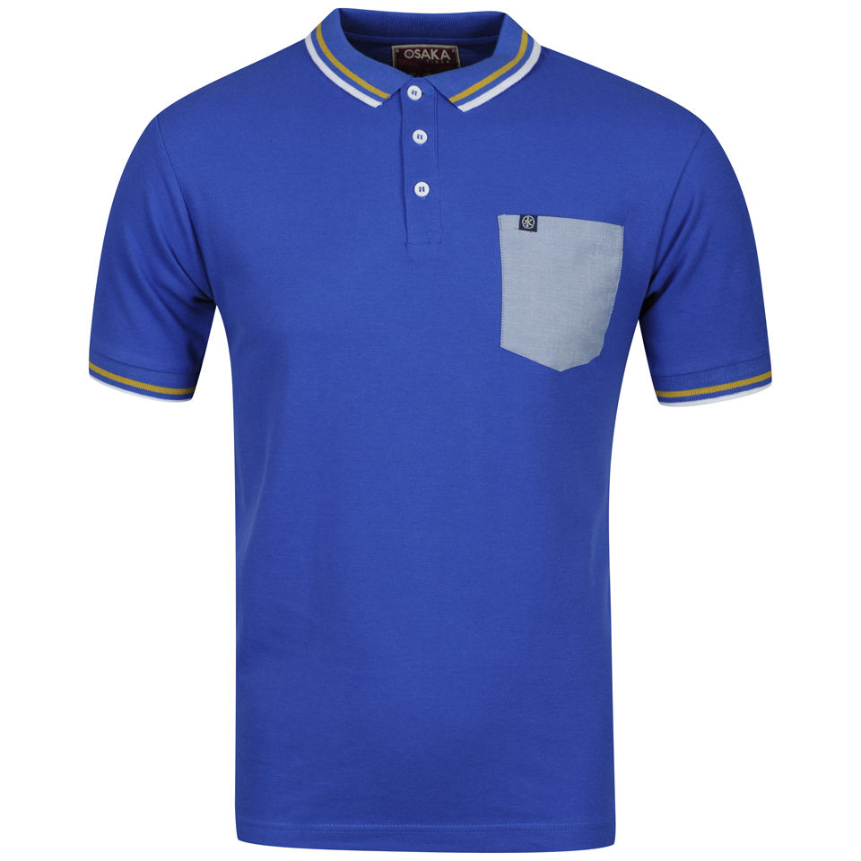 Osaka Men 39 S Chambray Pkt Polo Shirt Royal Blue Clothing