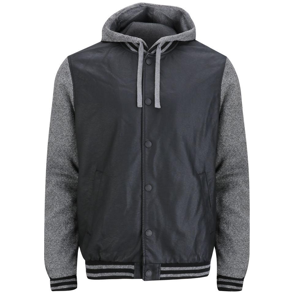 brave soul men 39 s yale pu jersey hooded jacket black. Black Bedroom Furniture Sets. Home Design Ideas