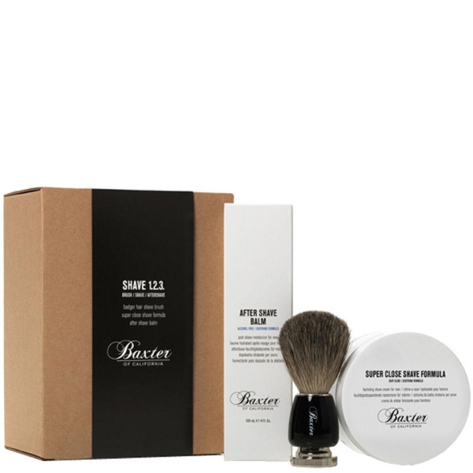 baxter of california shave kit 1 2 3 with best badger brush buy online. Black Bedroom Furniture Sets. Home Design Ideas