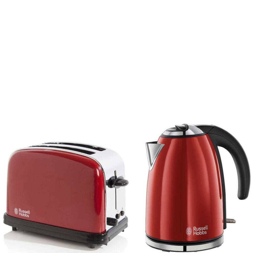 russell hobbs 1 7 litre jug kettle flame red and 2 slice toaster flame red homeware. Black Bedroom Furniture Sets. Home Design Ideas