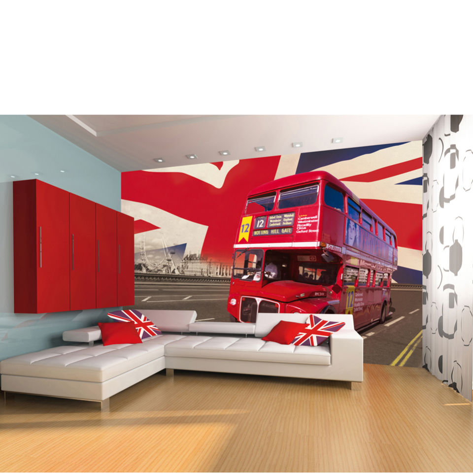 London Wallpaper For Bedrooms London Double Decker Bus Wall Mural Iwoot