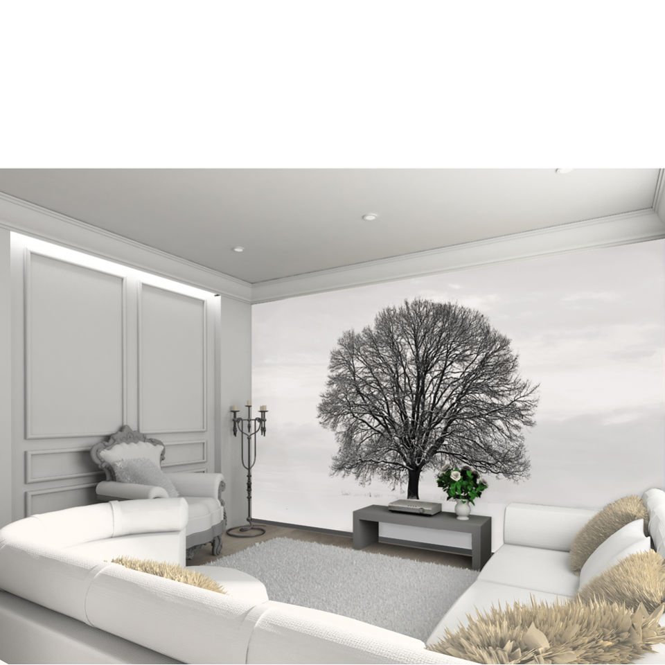 silhouette black and grey tree wall mural iwoot. Black Bedroom Furniture Sets. Home Design Ideas