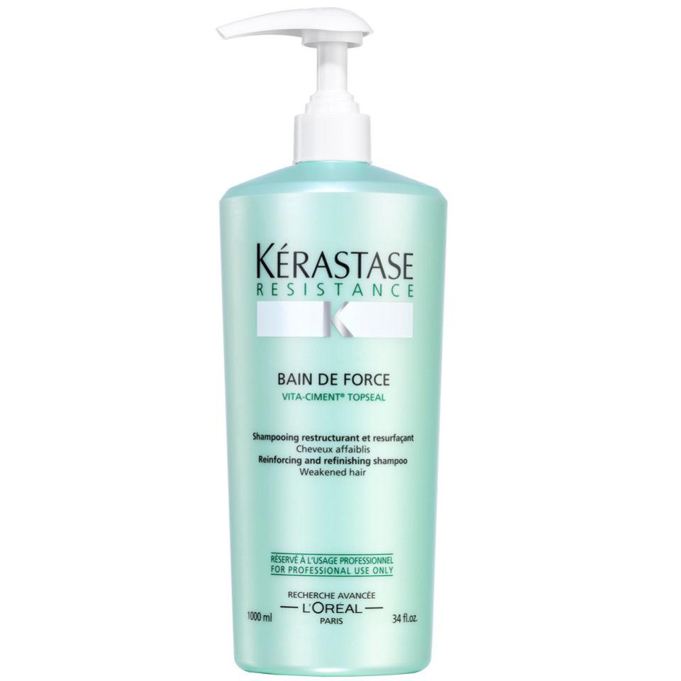 K rastase resistance bain de force topseal 1000ml free for Kerastase bain miroir reviews