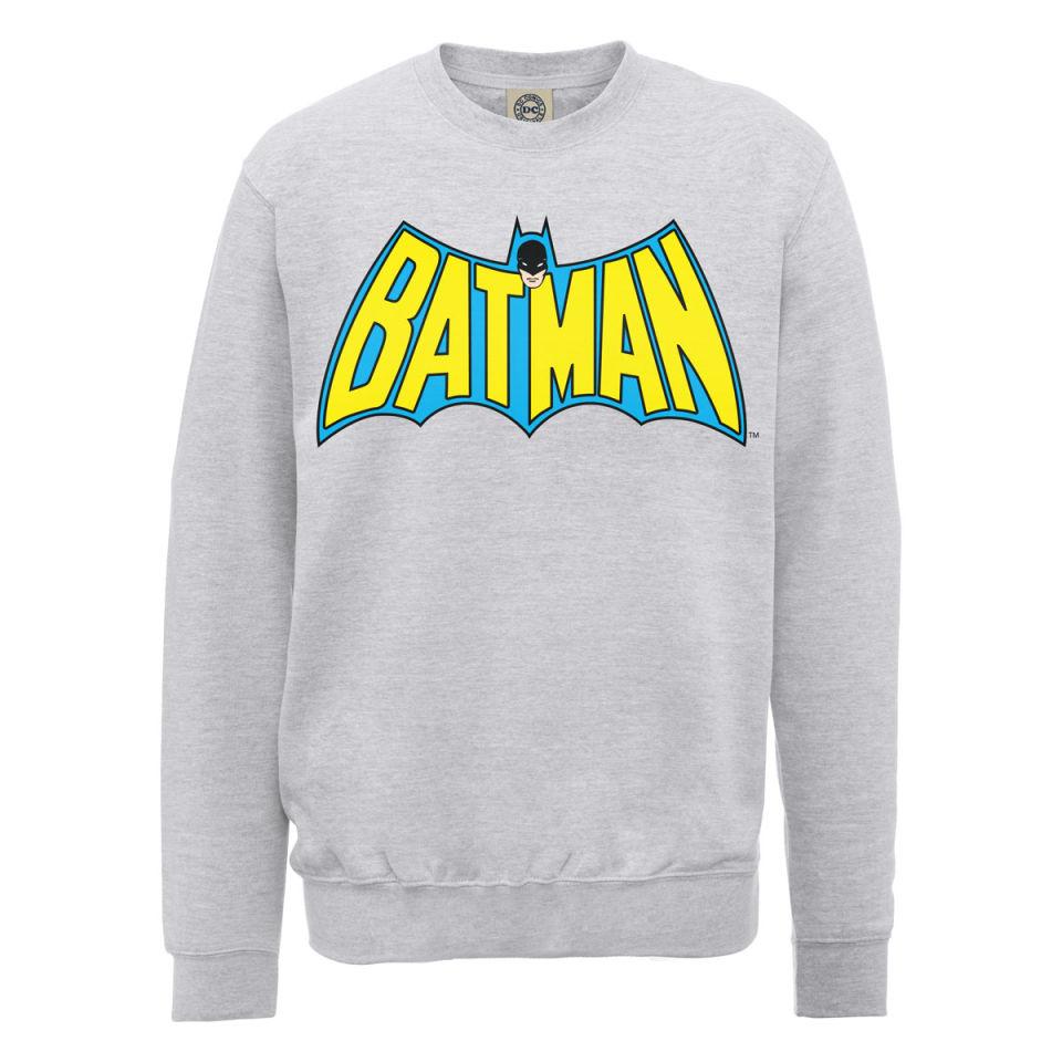 dc comics sweatshirt batman retro logo grey iwoot