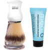 men-ü DB Premier Synthetic Bristle Shaving Brush with Chrome Stand - White: Image 1