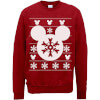 Disney Mickey Mouse Christmas Snowflake Silhouette Red Christmas Sweatshirt: Image 1