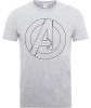 Marvel Avengers Assemble Captain America Outline Logo T-Shirt - Grey: Image 1