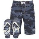 Smith & Jones Men's Carve Camo Board Shorts with Free Flip Flops - Navy