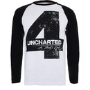 Uncharted 4 Men's Distressed 4 Long Sleeve Raglan Top - White/Black