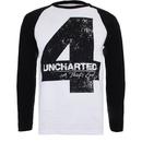 Uncharted 4 Men's Distressed 4 Long Sleeve Raglan Top - White/Black