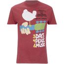 Woodstock Men's 3 Days of Peace T-Shirt - Heather Cardinal