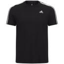 adidas Men's Essential 3 Stripe T-Shirt - Black
