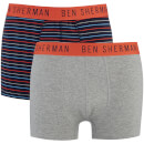 Ben Sherman Men's Logan 2 Pack Boxers - Navy/Grey
