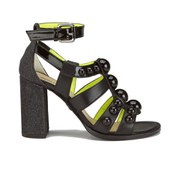 Markus Lupfer Women's Glitter Black Balls Block Heeled Sandals - Black