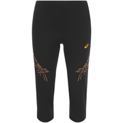 Asics Women's Stripe Running Capri - Black/Fizzy Peach