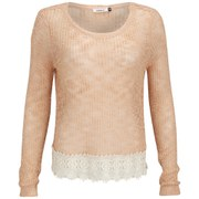 ONLY Women's Vanessa Lace Detail Knitted Jumper - Peach