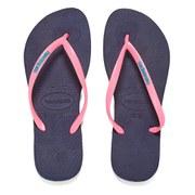 Havaianas Women's Slim Logo Flip Flops - Navy Blue/Pink