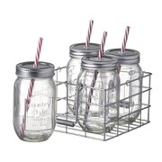 Parlane Jar Bottles With Straws - Clear