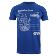 Star Wars Millenium Falcon Blueprint Herren T-Shirt - Blau