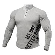 Better Bodies Long Sleeve Henley - Grey Melange