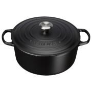 Le Creuset Signature Cast Iron 20cm Round Casserole Dish, 2.4L - Satin Black