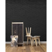 NLXL Black Brick Wallpaper by Piet Hein Eek - Black