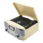 Tocadiscos GPO Retro Memphis Sistema de música 4 en 1 con CD y radio FM - Crema