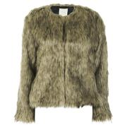 nümph Womens Fake Fur Box Jacket - Brown