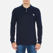 Paul Smith Jeans Men's Basic Long Sleeve Pique Zebra Polo Shirt - Navy