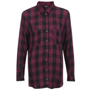 ONLY Women's Hayley Loose Check Shirt - Windsor Wine