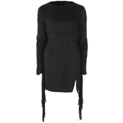Lavish Alice Women's Suede Fringe Detail Mini Dress - Black