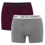 Tokyo Laundry Men's 2 Pack Sports Boxers - Oxblood/Grey Marl