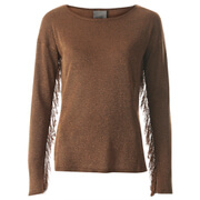 Vero Moda Women's Katie Long Sleeve Fringe Blouse - Tobacco Brown