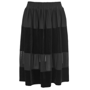 Ganni Women's Sheer Panel Skirt - Black