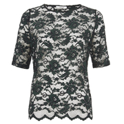 Ganni Women's Lace Short Sleeve Blouse - Black/Botanical Garden