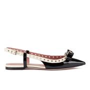 REDValentino Women's Eyelet Bow Slingback Pointed Toe Flats - Black & White