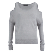 VILA Women's Count Cold Shoulder Jumper - Light Grey Melange
