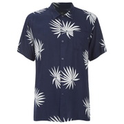 OBEY Clothing Men's Palm Fan Woven Short Sleeve Shirt - Navy/White Print