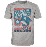 Marvel Captain America Poster Pop! T-Shirt - Gris
