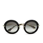 Miu Miu Women's Round Crystal Sunglasses - Black