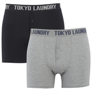 Tokyo Laundry Men's Kings Cross 2 Pack Button Boxers - Light Grey Marl/Dark Navy