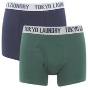 Lot de 2 Boxers Tokyo Laundry Tasmania -Vert/Bleu Nuit