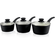 Tower T90921B Taper 3 Piece Saucepan Set - Black - 18/20/22cm