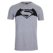 DC Comics Batman vs. Superman Logo Heren T-Shirt - Lichtgrijs