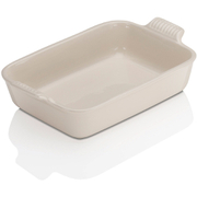 Le Creuset Stoneware Medium Heritage Rectangular Roasting Dish - Almond