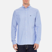 Selected Homme Men's Collect Long Sleeve Cotton Shirt - Light Blue